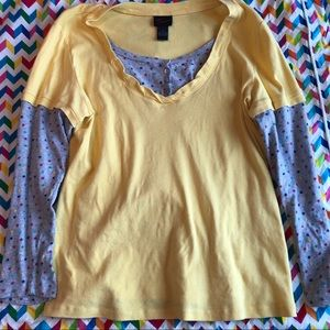 Vintage Torrid Ling Sleeve Star Yellow Shirt
